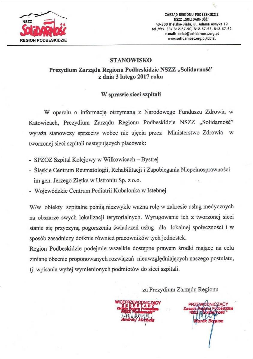 Stanowisko ZR ws. sieci szpitali