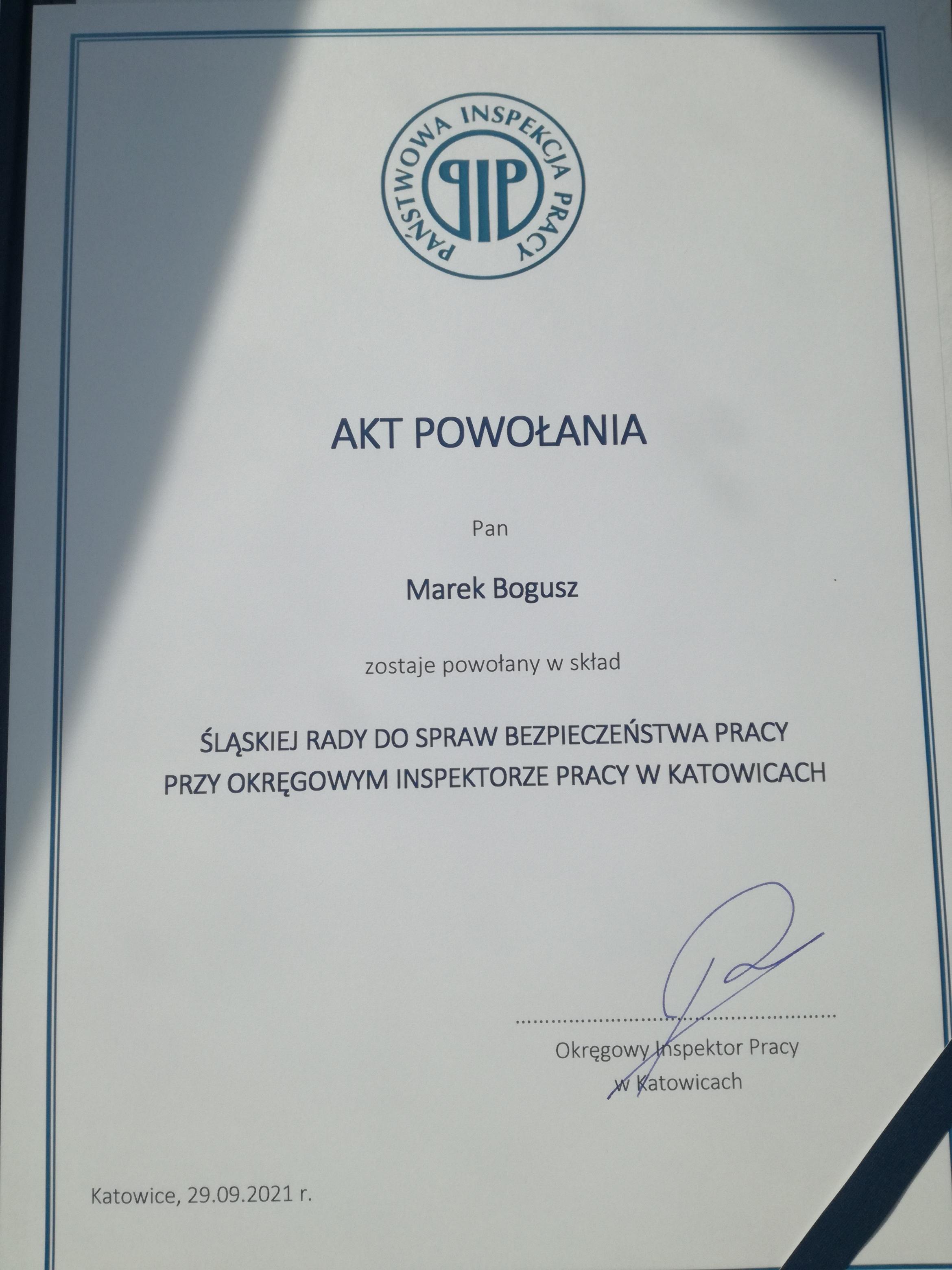 Przewodniczący ZR Marek Bogusz wybrany członkiem Śląskiej Rady do Spraw Bezpieczeństwa Pracy
