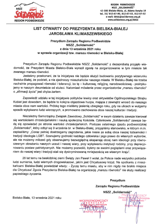 List otwarty do Prezydenta Bielska-Białej Jarosława Klimaszewskiego