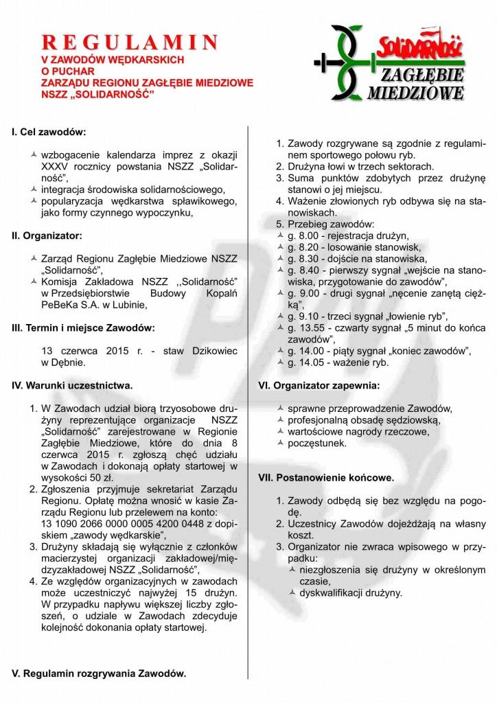 Regulamin zawodów wędkarskich