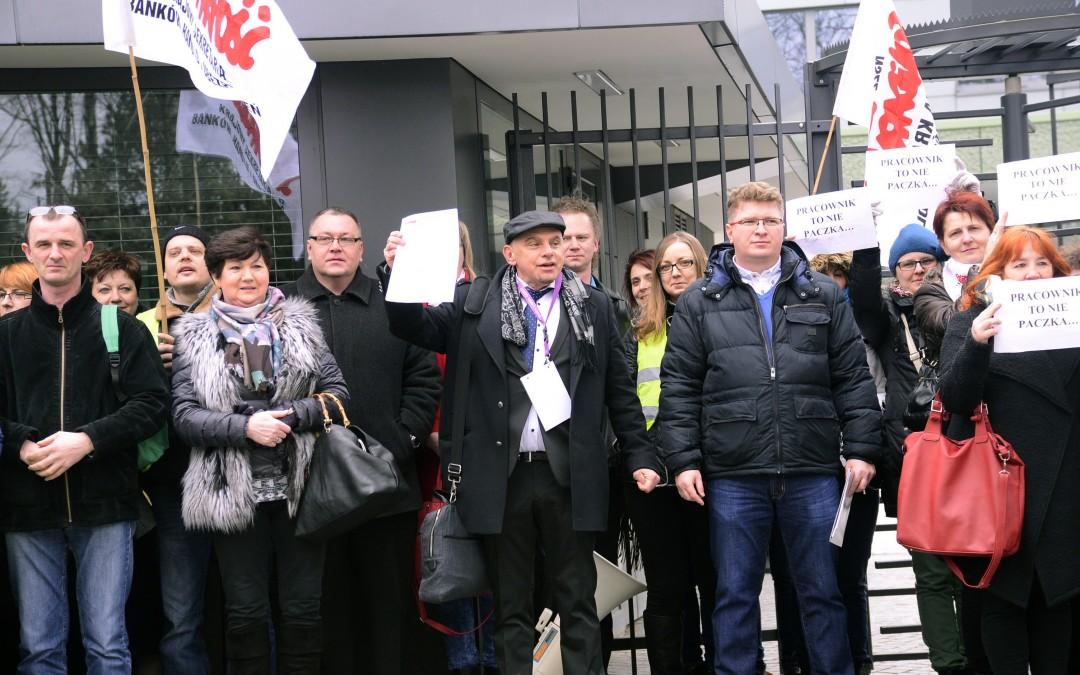 Protest przeciwko łamaniu prawa w DHL