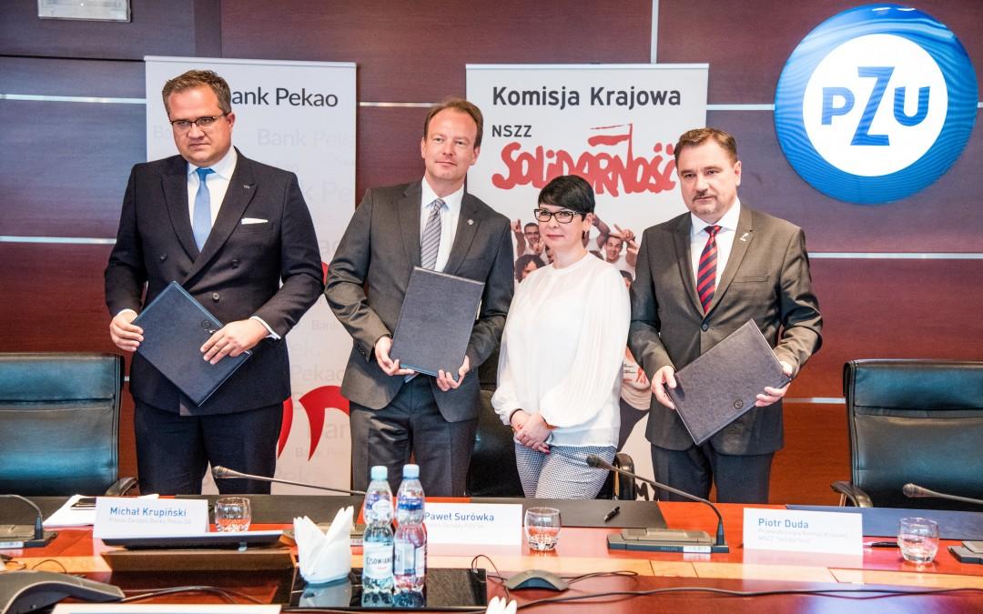 Solidarność podpisała list intencyjny z PZU SA oraz PEKAO SA w sprawie programu rabatowego dla wszystkich członków