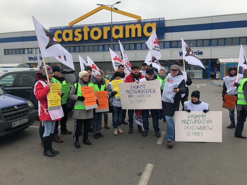 Akcja protestacyjna w obronie związkowców z Castoramy