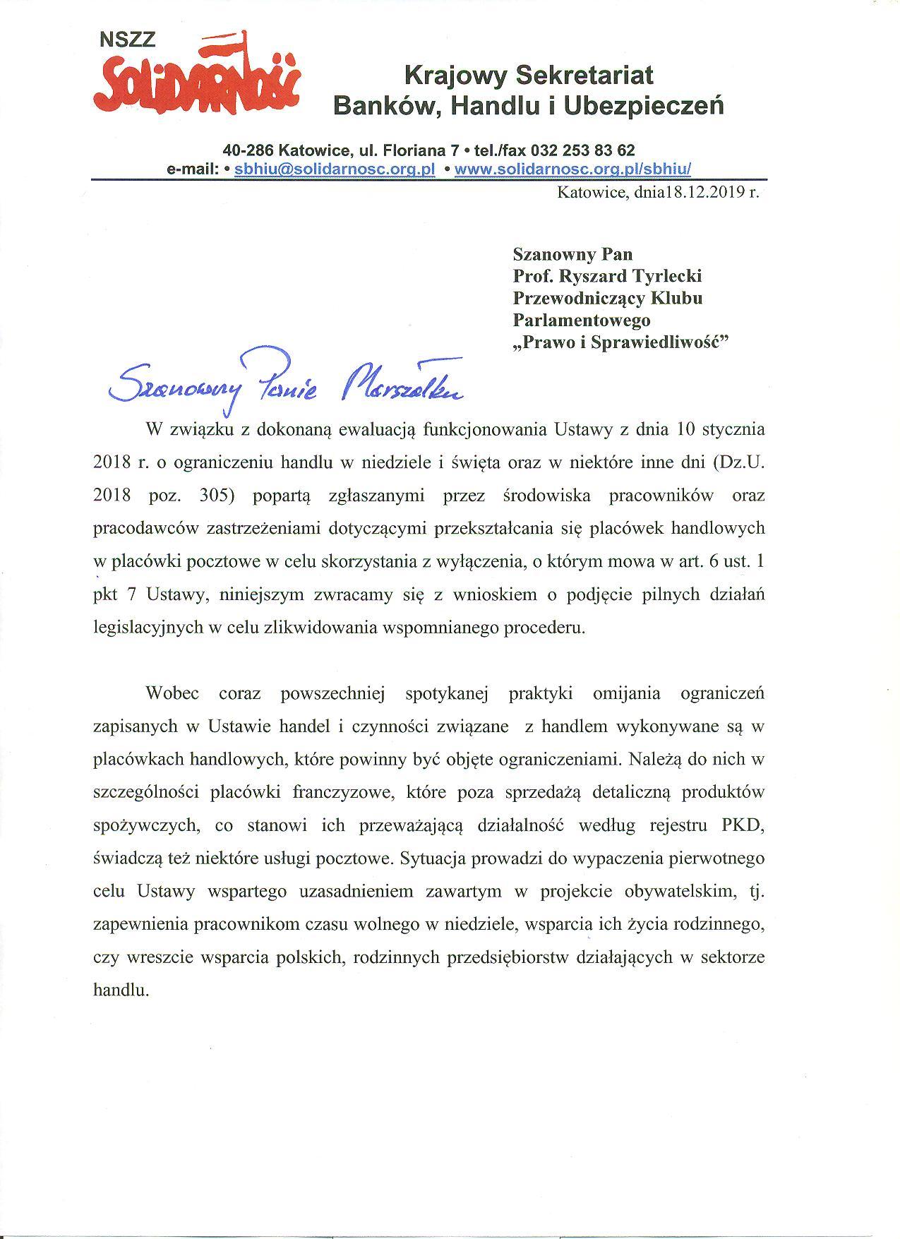 List do Pana Prof. Tyrleckiego 1