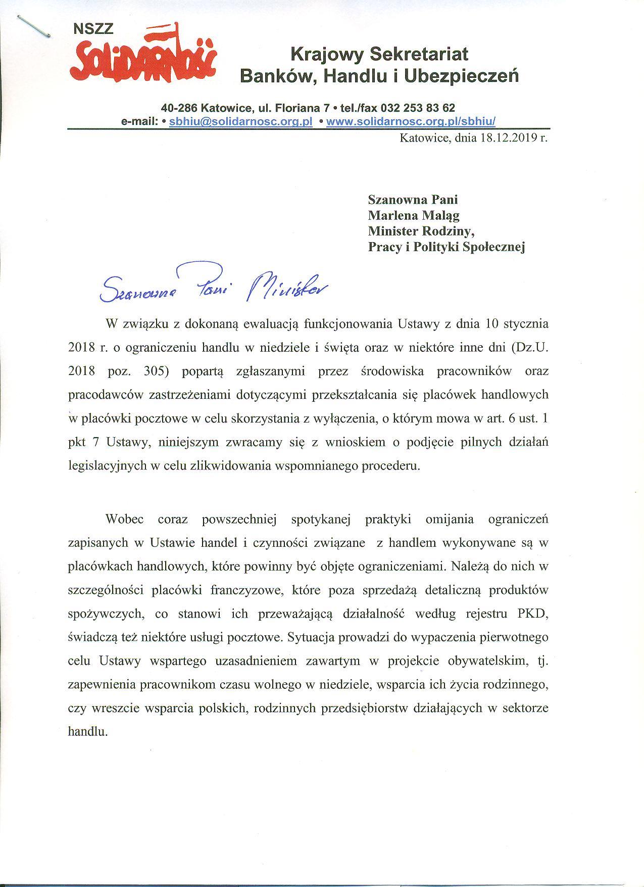 List do Pani MInister Maląg 1