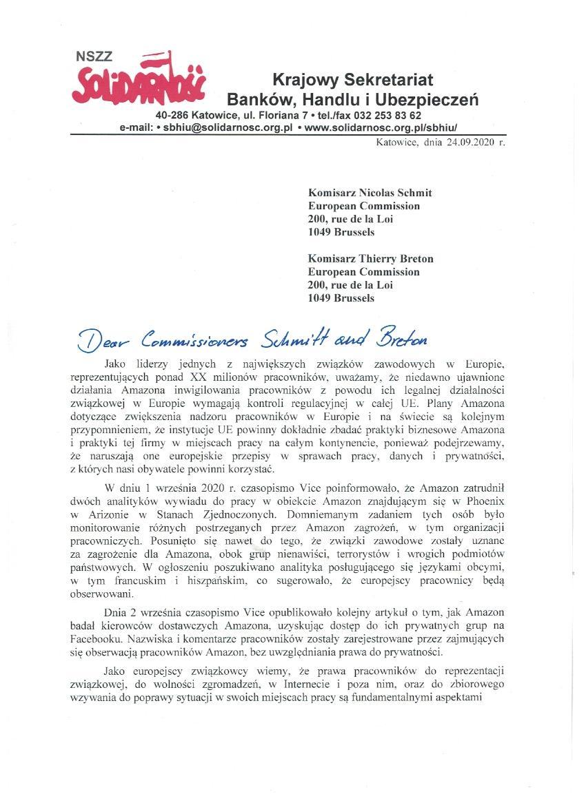 Amazon letter PL 1