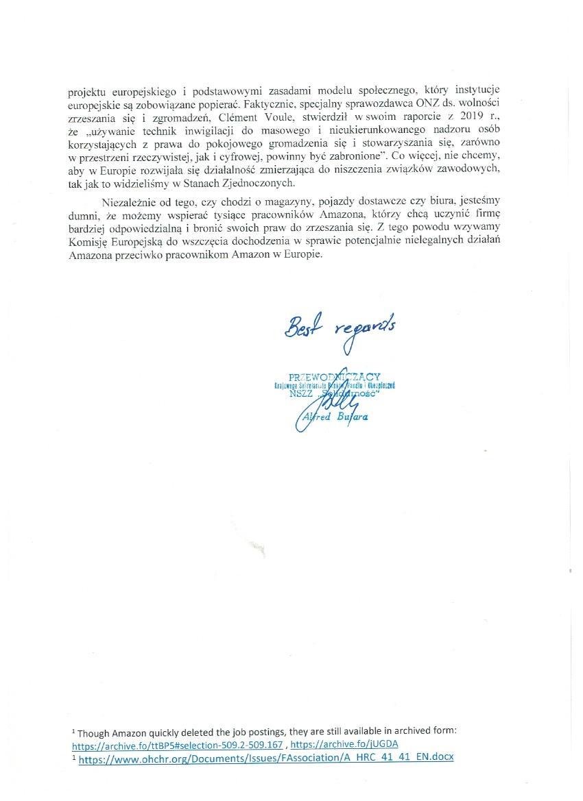 Amazon letter PL 2