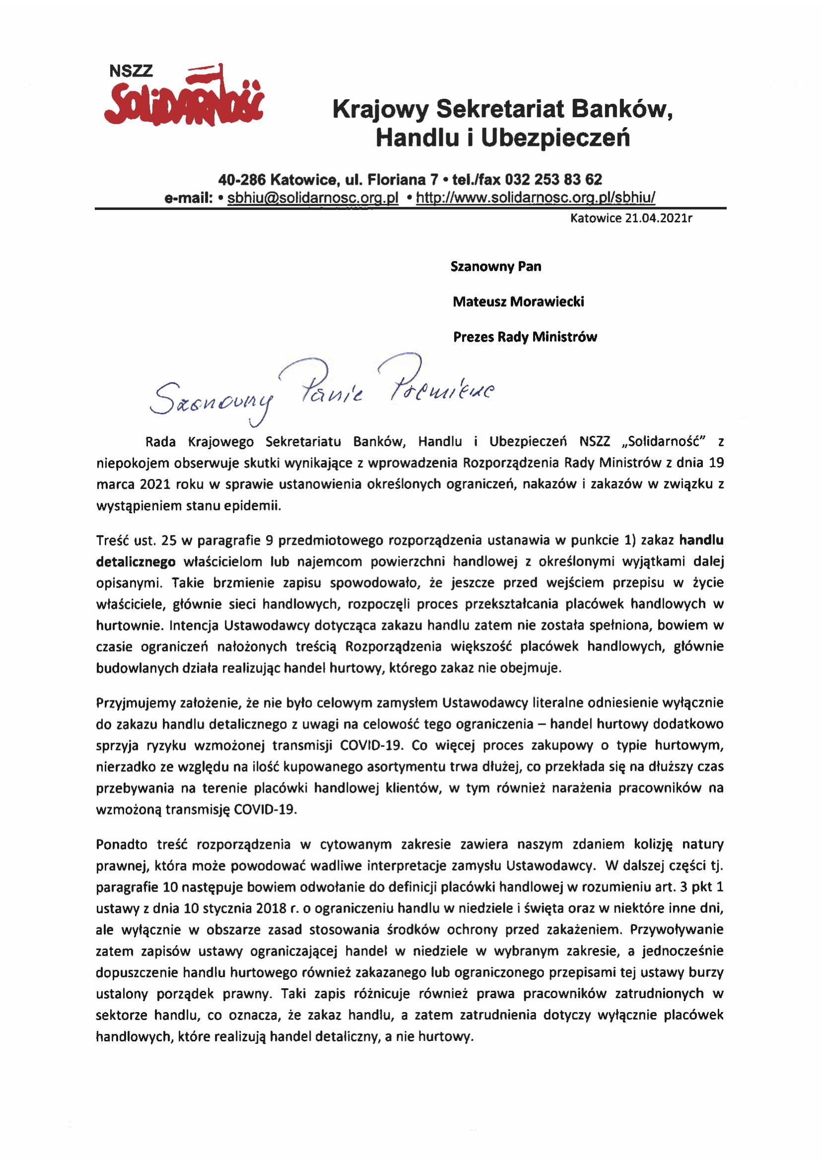 Pismo kierowane do Premiera M.Morawieckiego 21.04.2021 skan-1