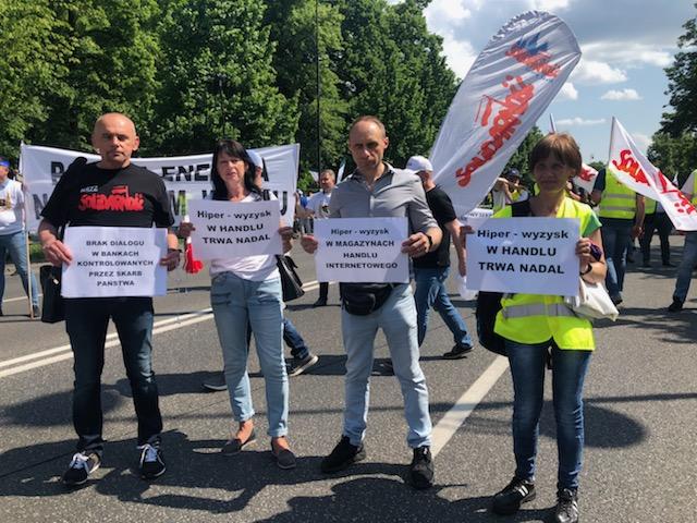 Protest energetyków i górników w Warszawie