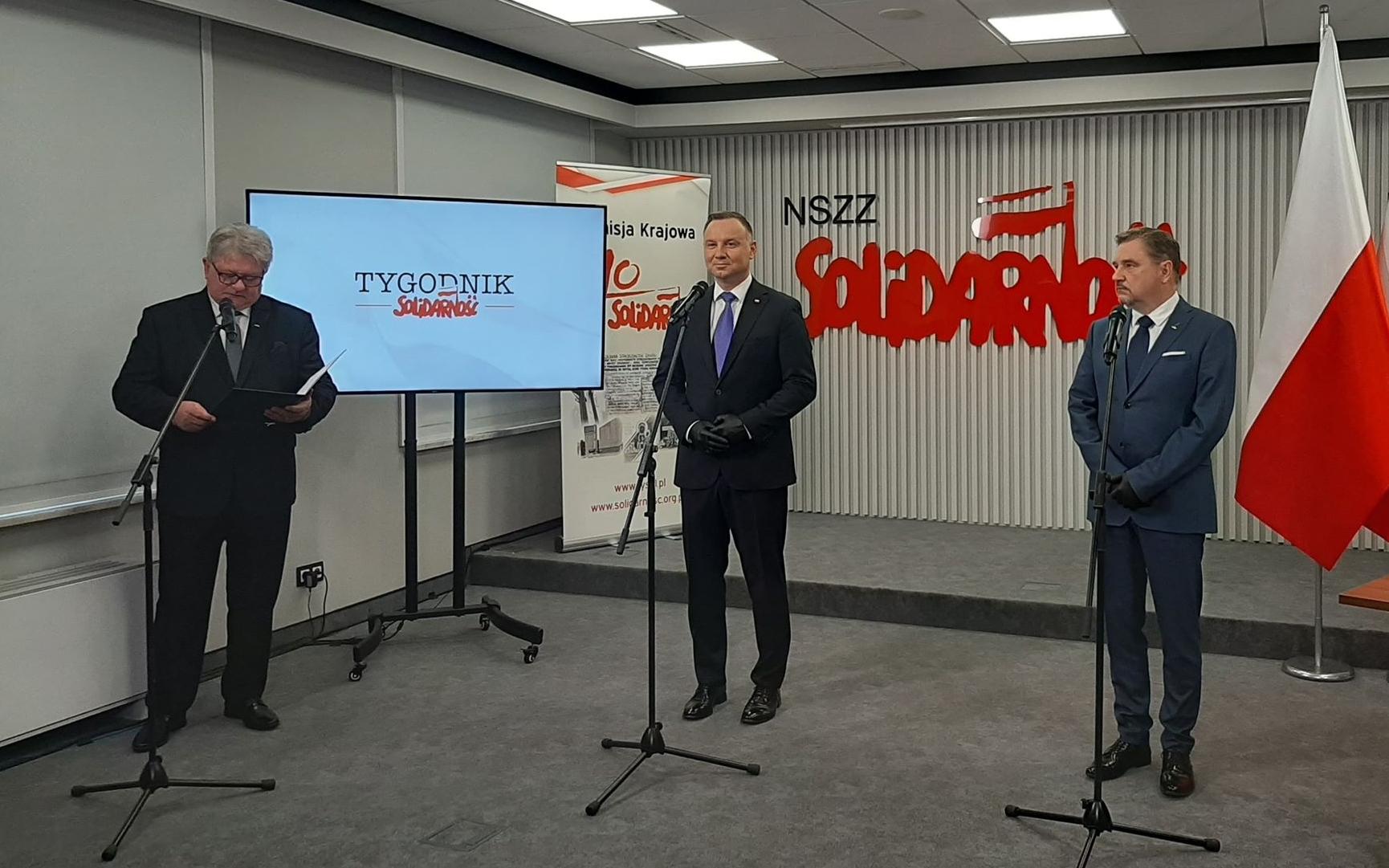 Podpisanie umowy programowej pomiędzy Prezydentem RP Andrzejem Dudą a Solidarnością
